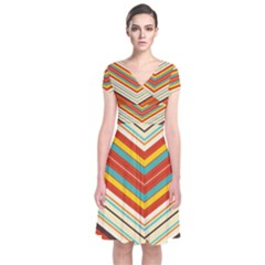 Bent Stripes   Short Sleeve Front Wrap Dress