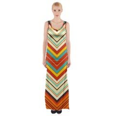Bent Stripes                                    Maxi Thigh Split Dress by LalyLauraFLM
