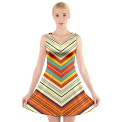 Bent stripes                                V-Neck Sleeveless Dress by LalyLauraFLM