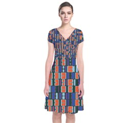 4 Colors Shapes   Short Sleeve Front Wrap Dress by LalyLauraFLM