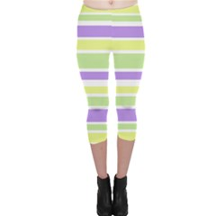 Yellow Purple Green Stripes Capri Leggings  by BrightVibesDesign