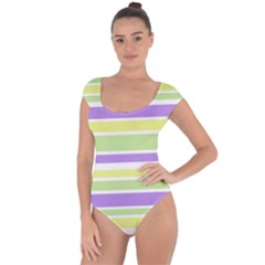 Yellow Purple Green Stripes Short Sleeve Leotard (ladies) by BrightVibesDesign