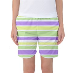 Yellow Purple Green Stripes Women s Basketball Shorts by BrightVibesDesign