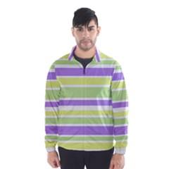 Yellow Purple Green Stripes Wind Breaker (Men) by BrightVibesDesign