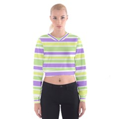 Yellow Purple Green Stripes Women s Cropped Sweatshirt by BrightVibesDesign