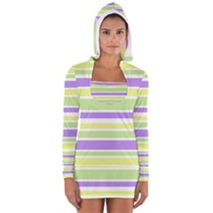 Yellow Purple Green Stripes Women s Long Sleeve Hooded T Shirt by BrightVibesDesign