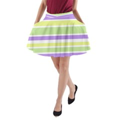 Yellow Purple Green Stripes A-Line Pocket Skirt by BrightVibesDesign
