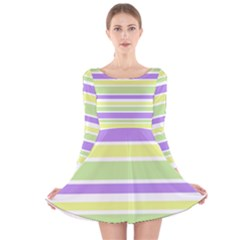 Yellow Purple Green Stripes Long Sleeve Velvet Skater Dress by BrightVibesDesign