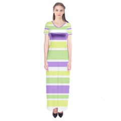 Yellow Purple Green Stripes Short Sleeve Maxi Dress by BrightVibesDesign