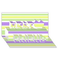 Yellow Purple Green Stripes Best Friends 3d Greeting Card (8x4)  by BrightVibesDesign