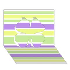Yellow Purple Green Stripes Clover 3d Greeting Card (7x5)  by BrightVibesDesign