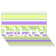 Yellow Purple Green Stripes PARTY 3D Greeting Card (8x4)  by BrightVibesDesign