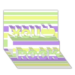 Yellow Purple Green Stripes You Rock 3d Greeting Card (7x5)  by BrightVibesDesign