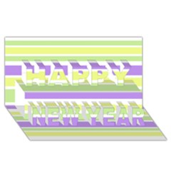 Yellow Purple Green Stripes Happy New Year 3D Greeting Card (8x4)  by BrightVibesDesign
