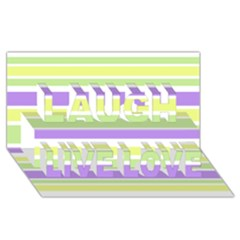 Yellow Purple Green Stripes Laugh Live Love 3D Greeting Card (8x4)  by BrightVibesDesign