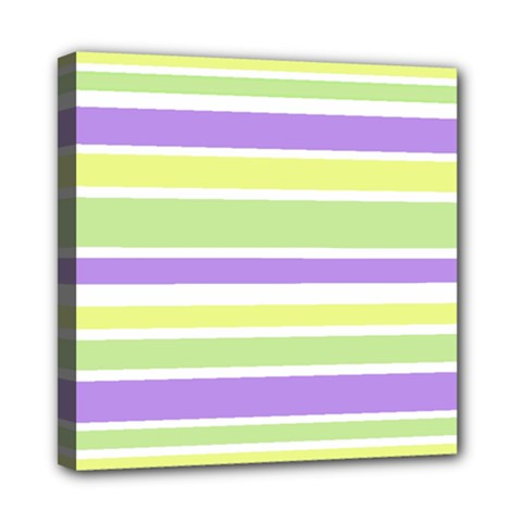 Yellow Purple Green Stripes Mini Canvas 8  X 8  by BrightVibesDesign