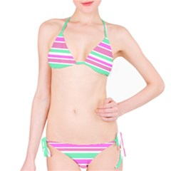 Pink Green Stripes Bikini Set