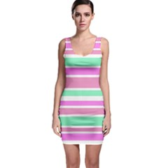 Pink Green Stripes Sleeveless Bodycon Dress