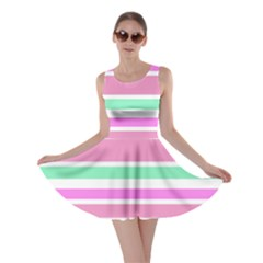 Pink Green Stripes Skater Dress