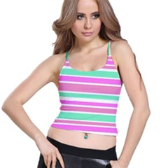 Pink Green Stripes Spaghetti Strap Bra Top
