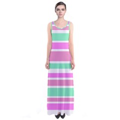Pink Green Stripes Sleeveless Maxi Dress