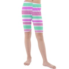 Pink Green Stripes Kid s Mid Length Swim Shorts
