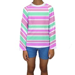 Pink Green Stripes Kid s Long Sleeve Swimwear