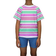 Pink Green Stripes Kid s Short Sleeve Swimwear