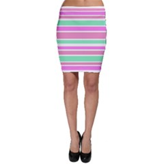 Pink Green Stripes Bodycon Skirt by BrightVibesDesign