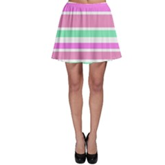 Pink Green Stripes Skater Skirt
