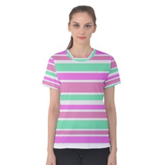 Pink Green Stripes Women s Cotton Tee