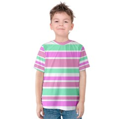 Pink Green Stripes Kid s Cotton Tee
