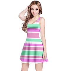 Pink Green Stripes Reversible Sleeveless Dress