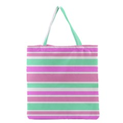 Pink Green Stripes Grocery Tote Bag