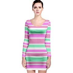 Pink Green Stripes Long Sleeve Bodycon Dress
