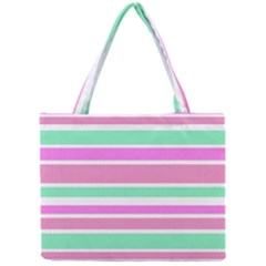 Pink Green Stripes Mini Tote Bag