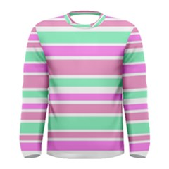 Pink Green Stripes Men s Long Sleeve Tee