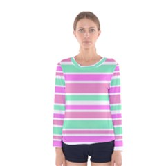 Pink Green Stripes Women s Long Sleeve Tee