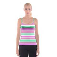 Pink Green Stripes Spaghetti Strap Top