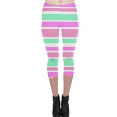 Pink Green Stripes Capri Leggings