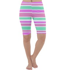 Pink Green Stripes Cropped Leggings