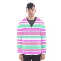 Pink Green Stripes Hooded Wind Breaker (Men)