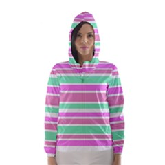 Pink Green Stripes Hooded Wind Breaker (Women)