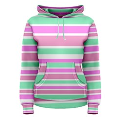 Pink Green Stripes Women s Pullover Hoodie