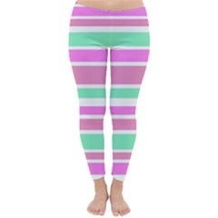 Pink Green Stripes Winter Leggings