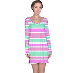Pink Green Stripes Long Sleeve Nightdress