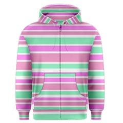 Pink Green Stripes Men s Zipper Hoodie