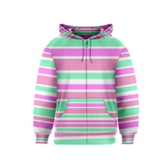 Pink Green Stripes Kids  Zipper Hoodie