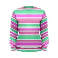 Pink Green Stripes Women s Sweatshirt