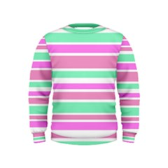 Pink Green Stripes Kids  Sweatshirt